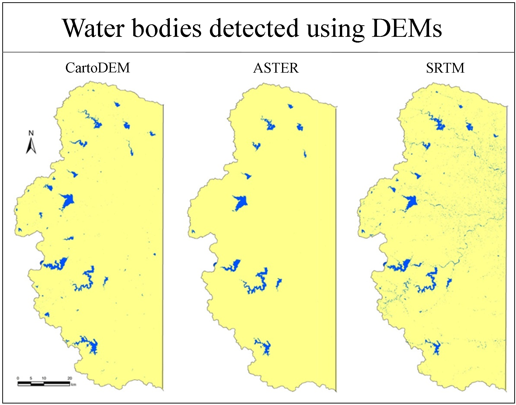 Detection and Delineation of Water Bodies in Hilly Region using CartoDEM SRTM and ASTER GDEM Data
