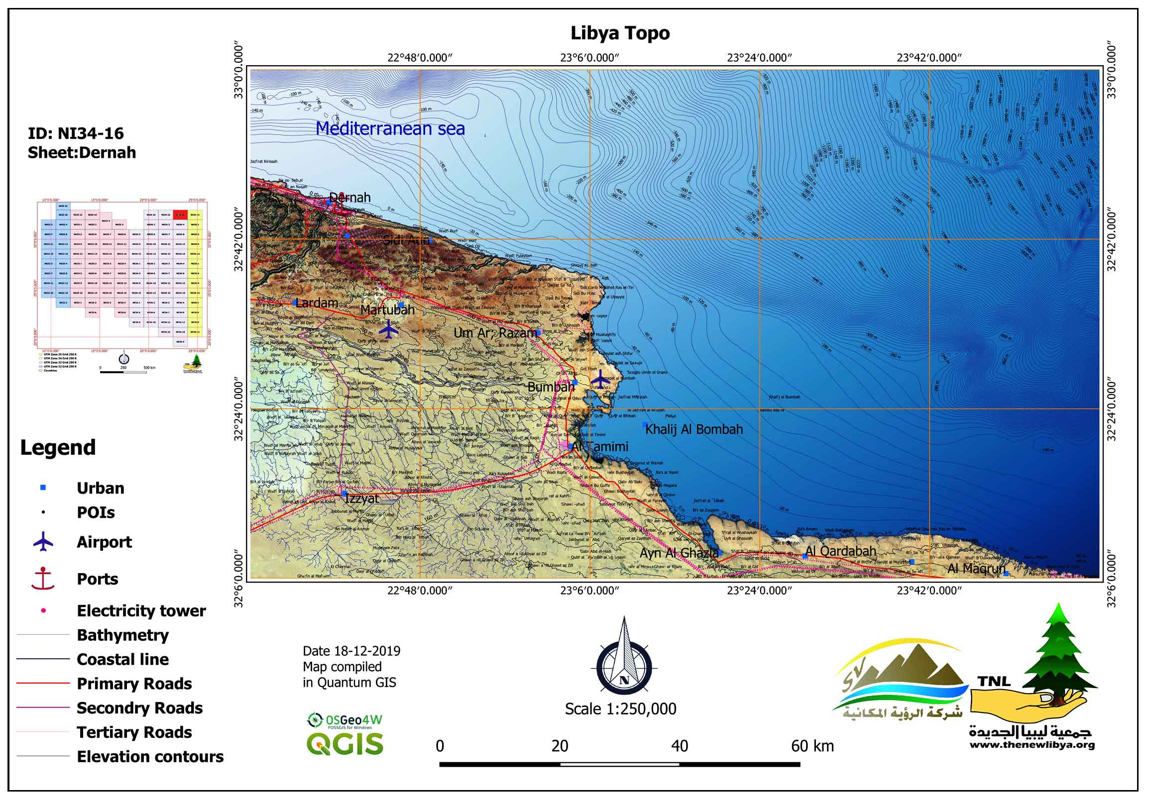 Updating Topographic Maps at Scale 1:250000 for Libyan Territory Using Quantum GIS (QGIS) and Open Geospatial Data: Libya Topo-Project